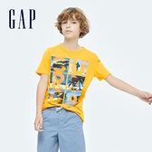 Gap男童 活力純棉印花短袖T恤 697885-黃色