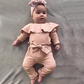 大荷葉長袖包屁衣+蝴蝶結長褲 套裝 薄長袖 屁屁褲 包屁衣 寶寶 嬰兒 童裝 女童 橘魔法 現貨