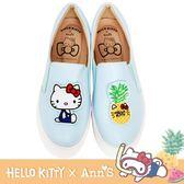 HELLO KITTY X Ann'S鳳梨可隨意交換貼布刺繡厚底懶人鞋-藍