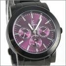 【萬年鐘錶】SIGMA 全黑紫三眼時尚腕錶 8807M-B5