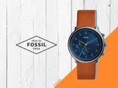 【時間道】FOSSIL休閒簡約數字刻度計時腕錶 / 深藍面橘棕皮帶 (FS5486)免運費