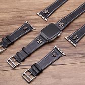 適用蘋果iwatch2/3/4真皮替換錶帶復古鉚釘腕帶男款【英賽德3C數碼館】