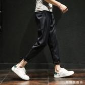 褲子男正韓潮流冬季厚款修身英倫豎條紋休閒西裝九分褲男小腳西褲