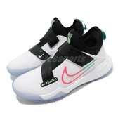 Nike 籃球鞋 Zoom Flight GS 白 黑 女鞋 大童鞋 魔鬼氈 綁帶設計 襪套式 運動鞋 【ACS】 CK0787-101