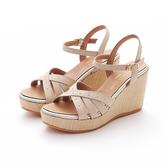 MICHELLE PARK 流行簡約鉚釘舒適厚底波西米亞涼鞋-米白色