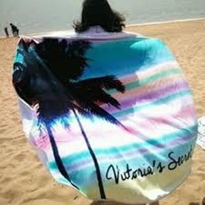 防曬披肩-圓形自然椰樹樣式多用途戶外沙灘巾73mu20【時尚巴黎】