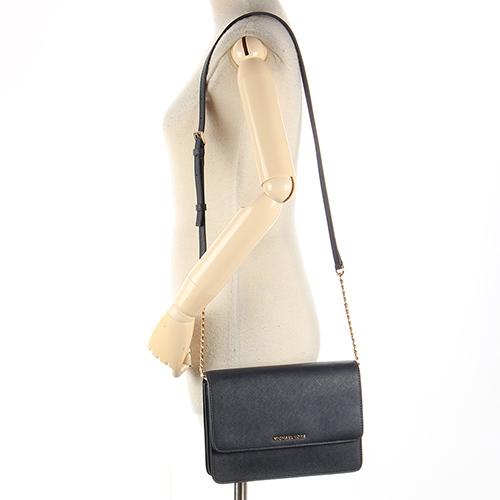 MICHAEL KORS DANIELA 防刮皮革金鍊帶雙隔層翻蓋斜背包(海軍藍)611306-1