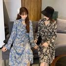 DE shop - 中長款V領喇叭袖連衣裙法式復古碎花長裙 - A-6655
