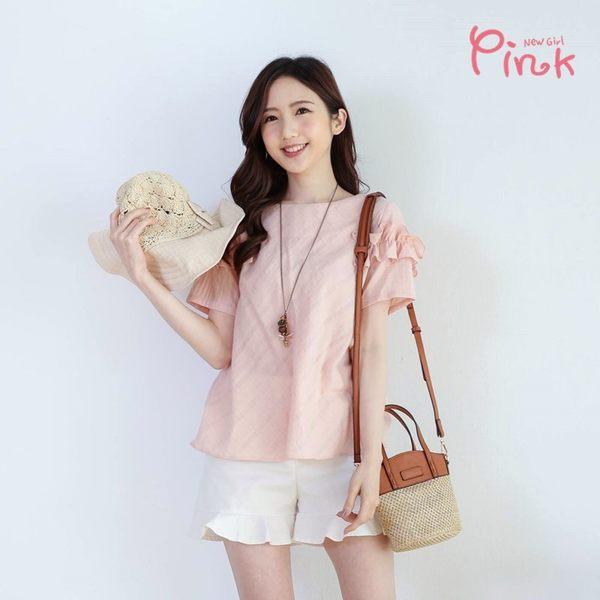Pink*簡約格紋上衣 M5214SD