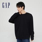Gap男女同款 純棉寬鬆圓領長袖T恤 842332-黑色