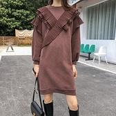 短袖洋裝-木耳邊拼接純色寬鬆連身裙2色73xk11[時尚巴黎]