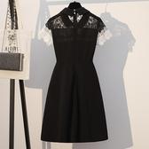 中大尺碼蕾絲洋裝 大碼女裝2020夏季新款胖mm短袖蕾絲拼接修身顯瘦遮肚中長款連身裙 寶貝計書