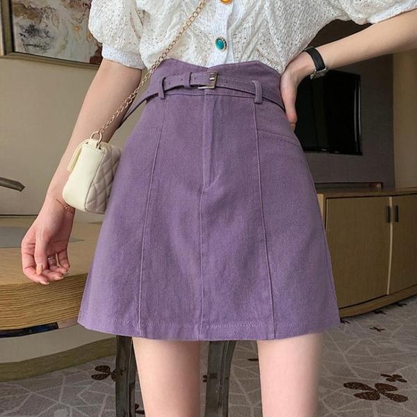 高腰A字半身裙女夏季新款小個子防走光包臀裙子辣妹紫色牛仔短裙 夢幻小鎮「快速出貨」