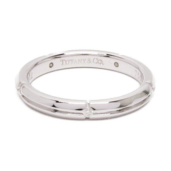 TIFFANY&CO 蒂芙尼 5顆鑲鑽白K金戒指 8號 K18WG  【二手名牌 BRAND OFF】