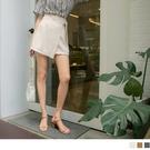《BA6294-》純色高腰後鬆緊綁帶不對稱褲裙 OB嚴選