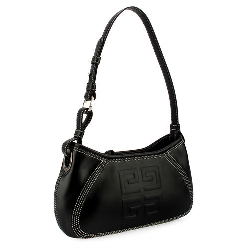 GIVENCHY HOBO 壓印LOGO精緻縫線皮革肩背包(黑色)910728