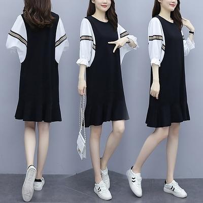大尺碼洋裝連身裙夏季新款韓版大碼洋裝港風寬松遮肚拼接魚尾連身裙9197 4F004 韓依紡