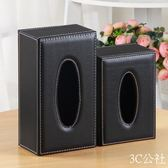 簡約皮革紙巾盒客廳家用抽紙盒 歐式創意餐巾紙盒紙抽盒車用 3C公社