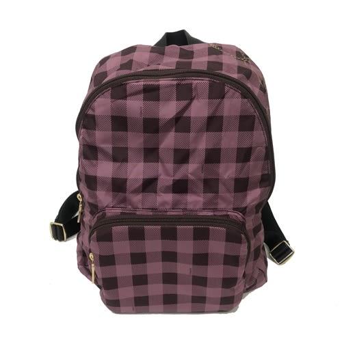【COACH】防水輕盈收納尼龍布格紋後背包(紫格)