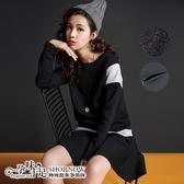 現  加絨加厚時尚減齡黑白色調孕婦哺乳(橫拉式)套裝 黑【CNH9812】孕味十足。孕婦裝
