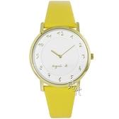 【台南 時代鐘錶 agnes b.】BJ5016X1 VJ20-KCW0Y 手寫風數字 皮革錶帶女錶 白/黃 33mm