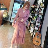 春季洋裝 時尚甜美氣質連身裙春裝新款V領綁帶修身網紗亮片蛋糕長裙女『小宅妮時尚』
