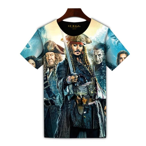 Qoqozozo2018新品加勒比海盜t恤短袖 全印花服飾圓領男短袖潮T