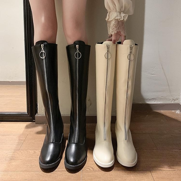 秋冬新款性感馬丁靴女粗跟過膝長靴前拉鏈高筒網紅瘦瘦騎士靴