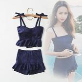 泳衣女 分體兩件套保守小胸聚攏遮肚顯瘦裙式平角蕾絲溫泉游泳衣