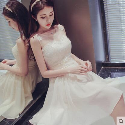 2016秋季新款伴娘團禮服短款姐妹裙伴娘服香檳色小禮服宴會晚禮服
