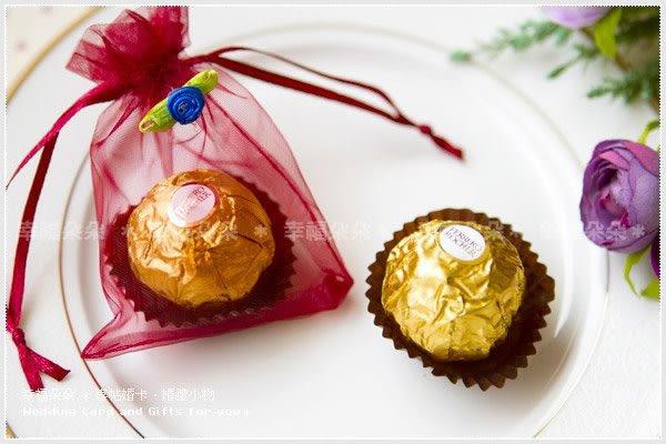 幸福朵朵*【玫瑰紗袋裝金莎巧克力(單入)】