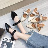 拖鞋女夏外穿新款韓版時尚尖頭包頭半拖鞋粗跟低跟涼拖鞋女鞋