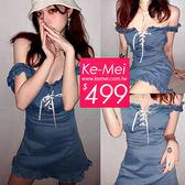 克妹Ke-Mei【ZT53136】原單!appare品牌氣質荷葉交叉綁帶牛仔連身洋裝
