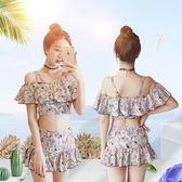 分體裙式泳衣女兩件套小胸聚攏性感顯瘦吊帶泡溫泉游泳衣