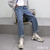 牛仔褲子 2019夏季新款寬鬆牛仔褲純韓版青年百搭直筒休閒牛仔褲 aj2281『美鞋公社』