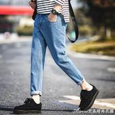 日常百搭夏季牛仔褲男修身小腳淺藍長褲青年復古休閒褲子純色潮流艾美時尚衣櫥