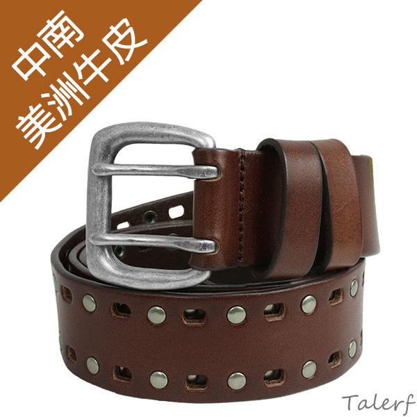 TALERF雙排鉚釘單層皮帶(咖啡色/共2色)-情侶-女 /真皮 牛皮/台灣製造