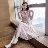 現貨 蕾絲裙女中長款2019年春季新款韓版時尚氣質A字蕾絲連衣裙收腰潮 長袖 洋裝連身裙