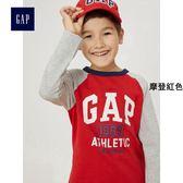 Gap男童 LOGO長袖棒球T恤 中大童圓領內搭兒童上衣 399146-摩登紅色