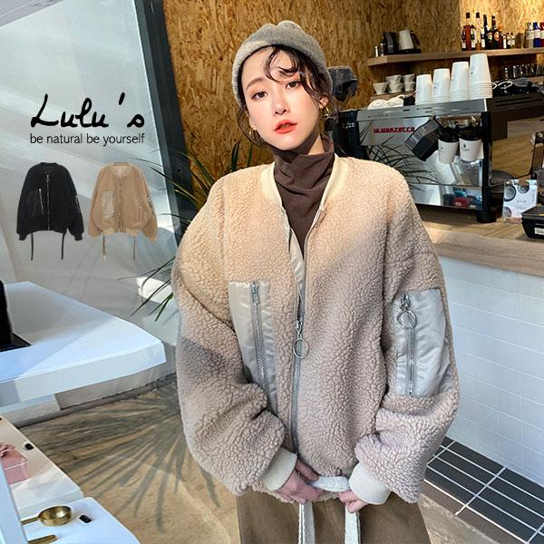 LULUS-Y領羅紋羔羊毛多口袋外套-2色  【03190224】