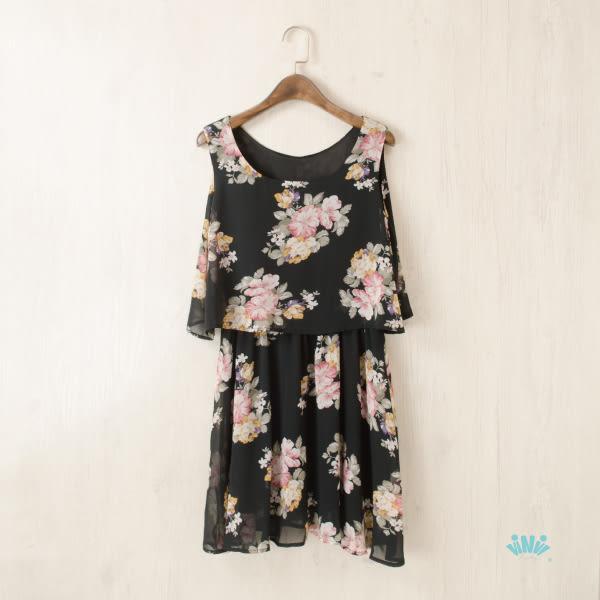 viNvi Lady 粉彩花朵修身假兩件無袖洋裝 連身裙