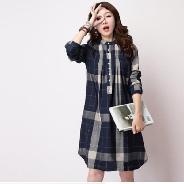 漂亮小媽咪 格紋洋裝 【D8686】 文藝 棉麻 長袖 孕婦 襯衫 孕婦上衣 孕婦裝 襯衫洋裝 長版襯衫