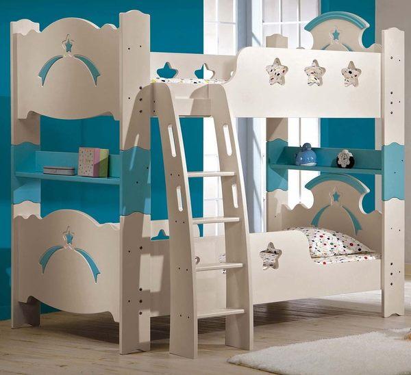【森可家居】貝妮斯3.5尺雙層床 7CM184-1 (不含床墊) 兒童床 城堡 上下舖 童話故事風 粉藍色