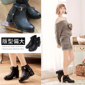 Ann'S重點造型-側T型皮帶釦鬆緊粗跟短靴-黑