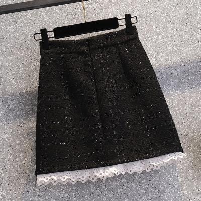 短裙 2021春季新款大碼小香短裙子高腰顯瘦拼接花邊半身裙女