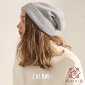 針織帽韓版毛線帽翻邊寬松秋冬季保暖冷帽【櫻田川島】