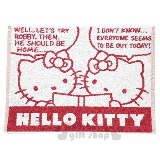 〔小禮堂〕Hello Kitty 毛巾腳踏墊《紅白.看書》45X60cm.浴墊.地墊 4548266-41685