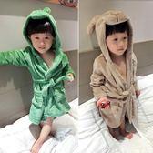 兒童法蘭絨睡衣浴袍秋冬季小童寶寶睡袍女童小孩男童珊瑚絨家居服【聖誕節超低價狂促】