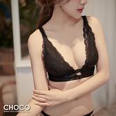 夜色序曲‧法式透明蕾絲性感無鋼圈親膚包覆款(黑色) 70B~80D Choco Shop