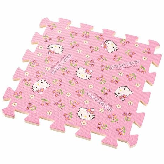 〔小禮堂〕Hello Kitty 方形拼圖地墊《10入.粉.花朵》31x31cm.地板巧拼.遊戲軟墊4991203-17606